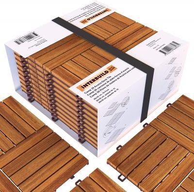 INTERBUILD REAL WOOD Acacia Hardwood Deck and Patio Tiles