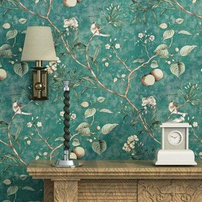 Blooming Wall Vintage Flower Trees Bird Wallpaper