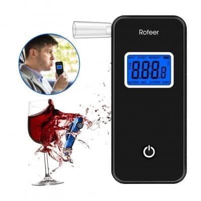 Rofeer Breathalyzer Digital Blue LED Screen Portable Breath Alcohol Tester