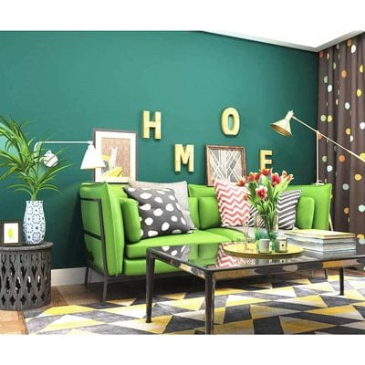 Blooming Wall Detachable Super Thick Peel and Stick Non-Woven Textured Green Wallpaper