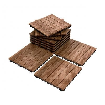 Yaheetech Patio Pavers Wood Flooring Deck Tiles 12 x 12 Inches