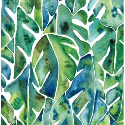 Cat Coquillette Philodendron Peel and Stick Green Wallpaper