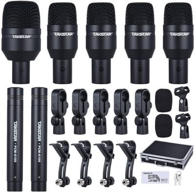 Ammoon TAKSATR Wired Microphone Kit for Drum