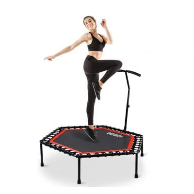 ONETWOFIT 48 Inches Mini Trampoline Adjustable Handlebar