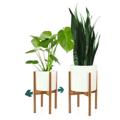 Fox & Fern Indoor Dark Bamboo Plant Stand with Adjustable Width