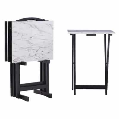 Linon Tray Table Set White