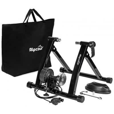 Alpcour Portable Stainless Steel Bike Trainer Stand with 6 Resistance Settings