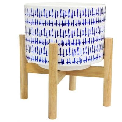 La Jolíe Muse Ceramic Decorative Indoor Plant Pot with Wood Stand, Blue and White