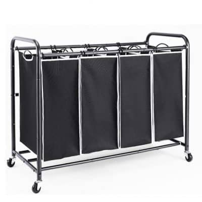 ROMOON 4 Bag Laundry Sorter Cart with Heavy-Duty Rolling Wheels