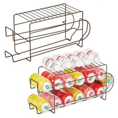 mDesign 2-Tier Metal Wire Stand Standing Soda and Food Can Organizer