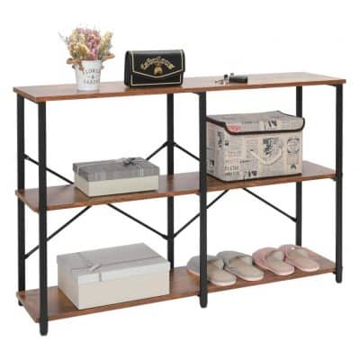 IWELL Industrial 3-Tier Console Table with Storage Shelves