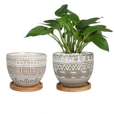G EPGardening 5.5in Large Round Geometry Ceramic Planter