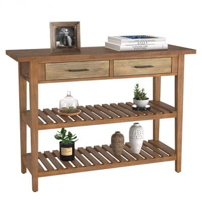 HOMECHO Rustic Console Sofa Table with Drawers