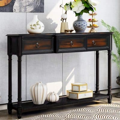 P PURLOVE Console Table 3 Drawers and Long Shelf