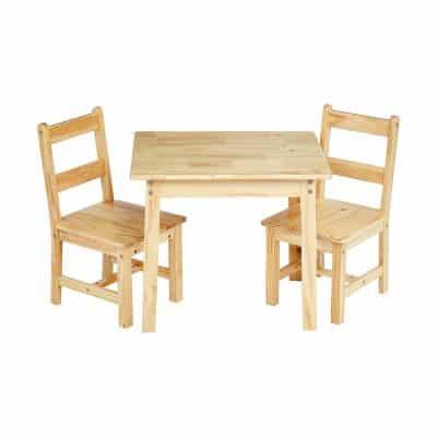 AmazonBasics Kids Solid Wood Table and 2 Chair Set