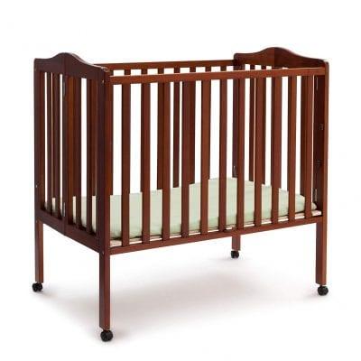 Delta Children Cherry Folding Portable Baby Crib with 1.5-inch Mattress