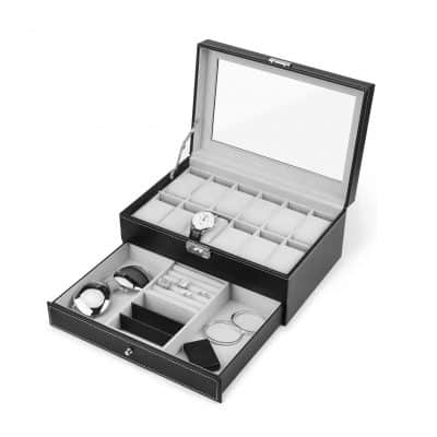 Watch Box, 12 Slots Jewelry Organizer