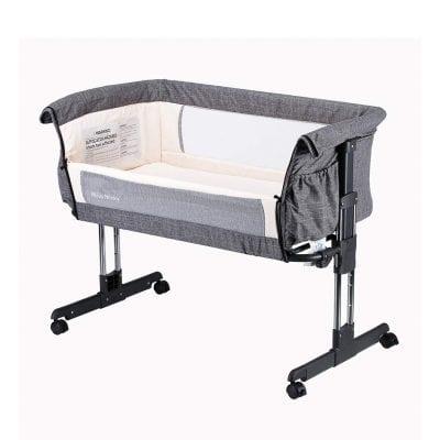 Mika Micky Bedside Easy Folding Grey Baby Crib