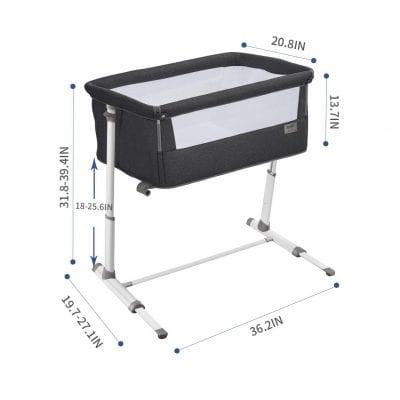 RONBEI Adjustable Portable, Baby Crib for sale under 200