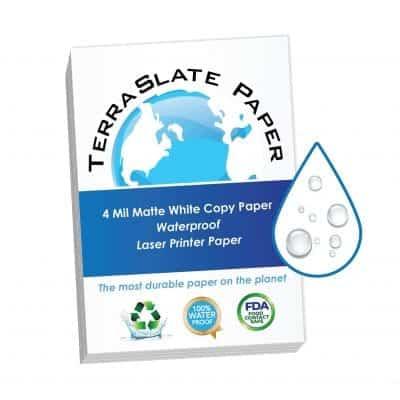 TerraSlate Waterproof Laser Printer Paper, 25 Sheets