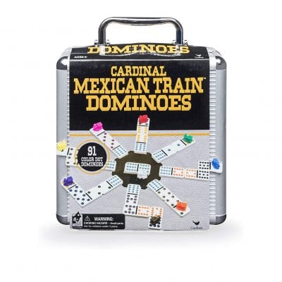 Cardinal Industries Mexican Train Domino Game with Aluminum Case Game