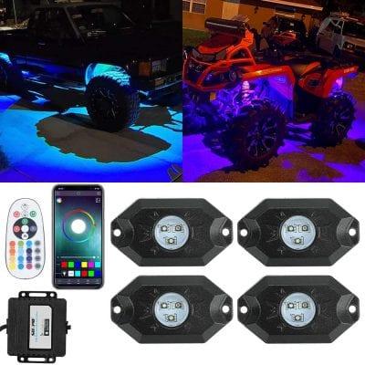 SUNPIE RGB LED Rock Lights 4 Pods