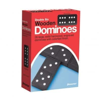 Pressman Toy Double Six Wooden Dominoes, 28 Pieces