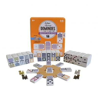 Regal Games Double 15 Colored Dot Dominoes Mexican Train Game Set