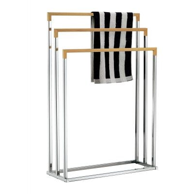 MyGift Freestanding Chrome Plated 3 Tier Bamboo Towel Bars