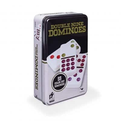 Double 9 Color Dot Dominoes in Collectors Tin