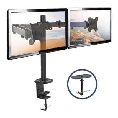 """H HUANUOAV Dual Monitor Stand for Two 13-27"""" LCD Computer Screens"""
