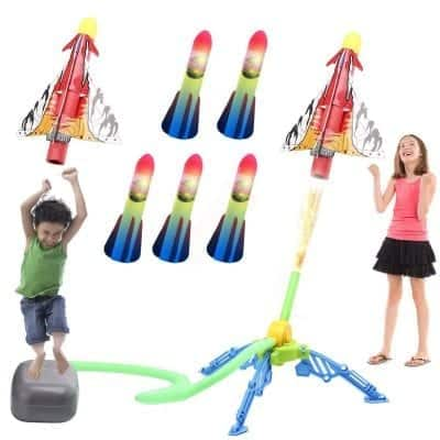 IROO Rocket Launcher Toys for Kids with 5 LED Foam Rockets and One Air Plane