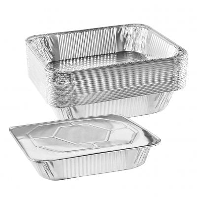 NYHI 9 x 13-Inch Aluminum Foil Pan with Lid Disposable Grill Drip Tray