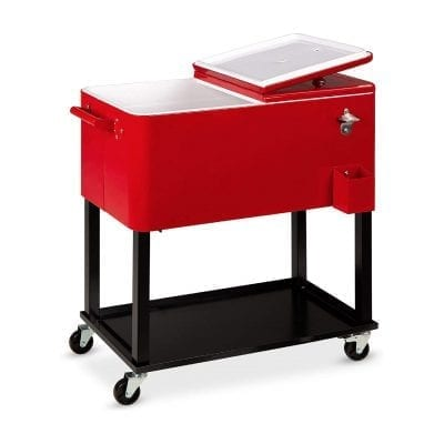Best Choice Products Outdoor Rolling Cooler with Stand, 80qt (Red)