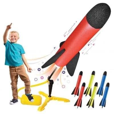 Motoworx Toy Rocket Launcher 100FT 8 Colorful Foam Rockets