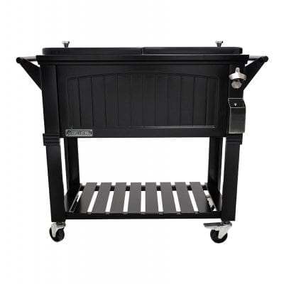 Permasteel 80 Quart Portable Patio Cooler with Stand, Black