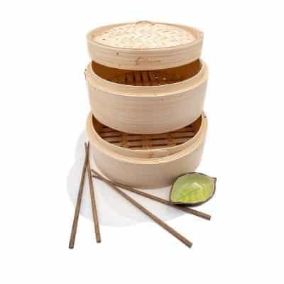 """Premium 10"""" Handmade Bamboo Steamer"""