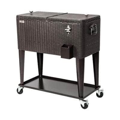 VINGLI 80 Quart Portable Party Patio Bar Cooler Cart, with Stand (Rattan)