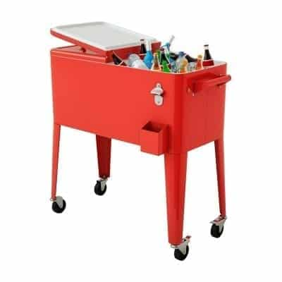 Giantex 80 Quart Outdoor Party Patio Cooler with Stand, Red Metal