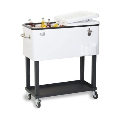 BLACK+DECKER BCC20W Patio Cooler Cart with Stand, White