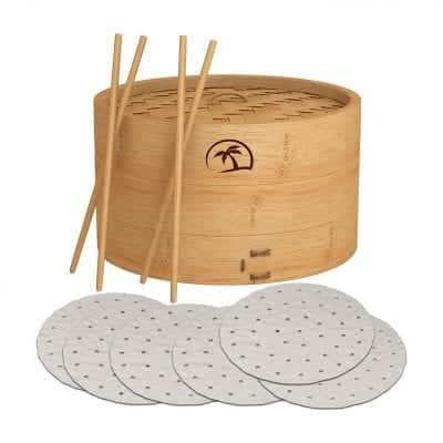 DEALZNDEALZ 3-Piece Bamboo Steamer Basket