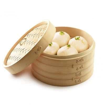 """Bamboo Steamer 10"""", Chinese Food Steamer"""