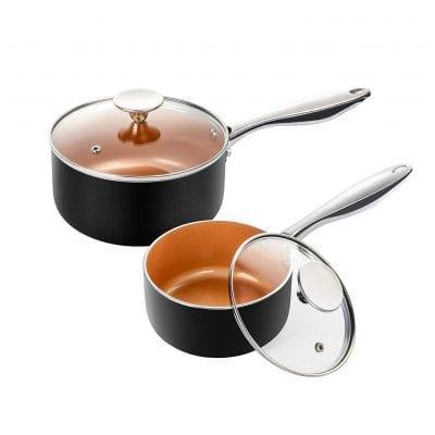 MICHELANGELO Ceramic Nonstick 1Qt & 2Qt Sauce pan