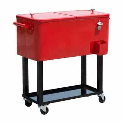 Outsunny 80 QT Outdoor Patio Cooler with Stand, Red