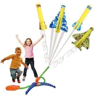 US Sense 4 Pack Kids Stunt Flyer Foam Planes with Adjustable Launcher