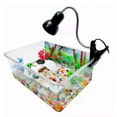Geegoods Turtle Tank Aquarium with 3 Pieces Aquatic Plants