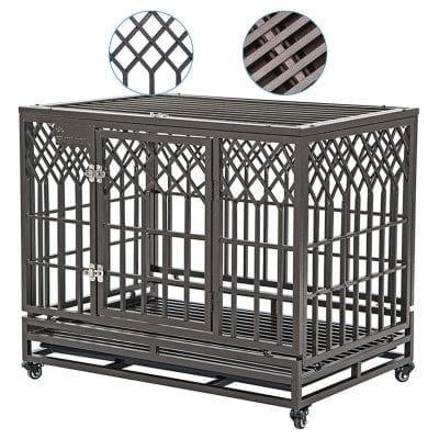 SMONTER Heavy-Duty Dog Crate with 2 Prevent Escape Lock