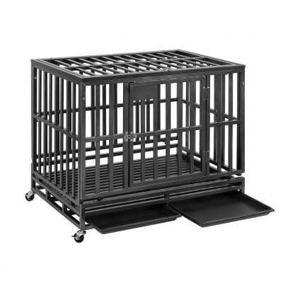 PUPZO Heavy-Duty Dog Crate with 4 Wheels for Outdoor and Indoor Use