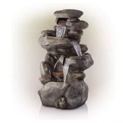Alpine Corporation 4-Tier Rock Water Fountain