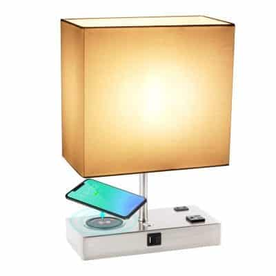 KBest 3-Way Dimmable Touch Bedside Lamp with Wireless Charger